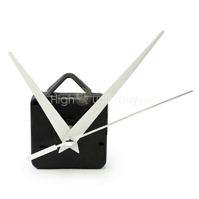 Black Quartz Wall Clock Movement Mechanism Long White Hands DIY