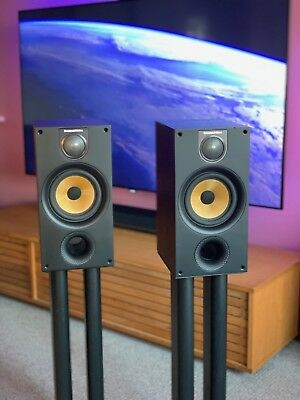 Bowers and Wilkins 686 S2 Bookshelf speakers with B&W stands - Ash Black