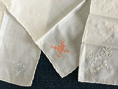 7 Vintage Plain and Embroidered rolled hem Fine Cotton Handkerchiefs1940s 1950s