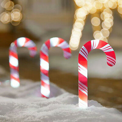 """1pc CHRISTMAS PATHWAY CANDY CANE 10"""" Stakes Walkway Light Pre-Lit Yard Decor"""