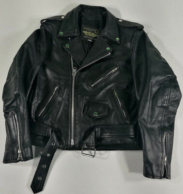 Stop Giacca In Pelle Leather Jacket Black Vintage