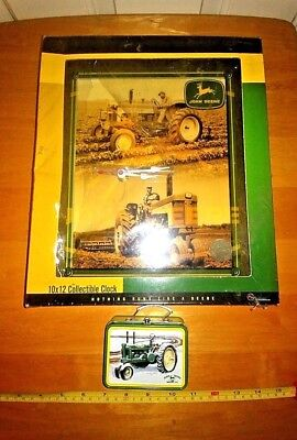 John Deere Wall Clock And Small Toy Lunch Box Nice Graphics Man Cave Ready