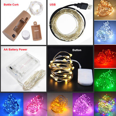 20/30/100 LED Fairy String Battery/USB Micro Silver Wire Lights Party Xmas Decor