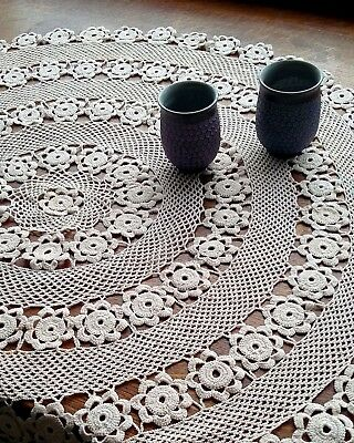 Beautiful handmade round crochet tablecloth, vintage table topper, beige cotton