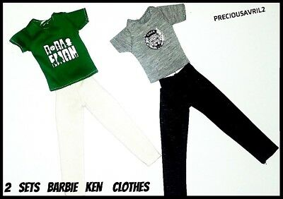 Ken doll clothes barbie outfit casual 2 sets pants & t/shirts quality NEW