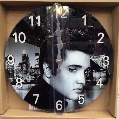 Elvis Presley The King Of Rock & Roll Retro Vintage Glass Wall Clock 30Cm