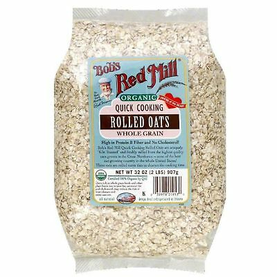Bobs Red Mill Oats Rolled Quick Cooking Organic, 32 Oz Pack Of 4
