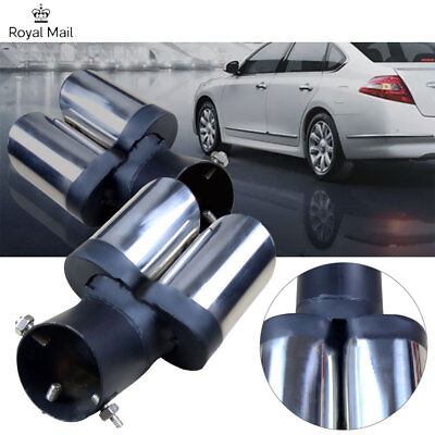 NEW CURVE TWIN DUAL EXHAUST TRIM DOUBLE TIPS MUFFLER PIPE 63 x 180mm CHROME TAIL