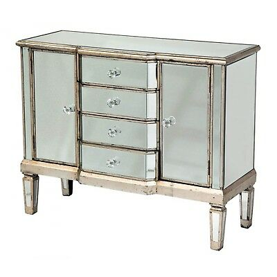 Antique Silver Venetian Mirrored Furniture Sideboard 4 Drawers & 2 Cupboards