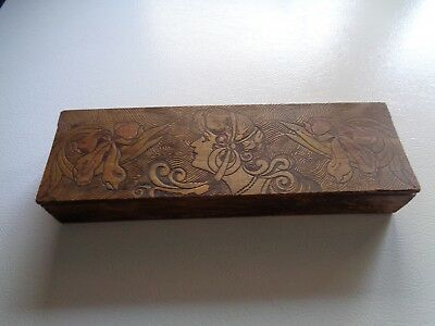 VINTAGE Art Deco CARVED WOMENS HEAD / FLORAL WOODEN BOX