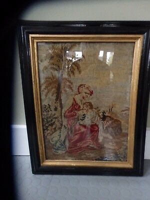 Antique Victorian Berlin wool work tapestry of the Madonna in vintage frame 1860