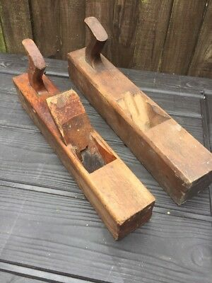 2 x Vintage Old Wood Plane Antique Collectible Woodworking Tools