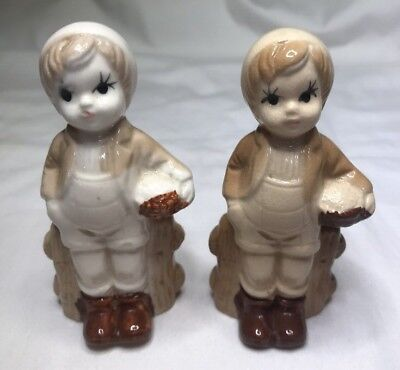 Pair of Little Boy Figurines  Porcelain Vintage 1950's -