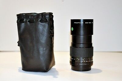 Pentacon 135mm f2.8 lens with hood, case, rear cap and filter