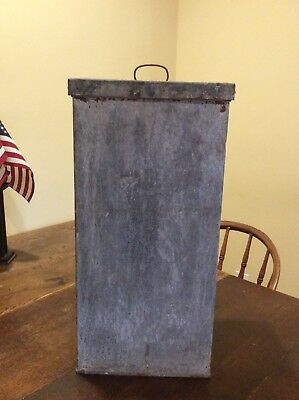 VINTAGE ANTIQUE TALL RECTANGLE GALVANIZED METAL BUCKET PAIL WITH LID 22 5/8 Tall