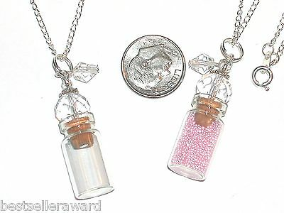 1pc Glass Clear perfume small bottle cork pendant vial fill locket Necklace