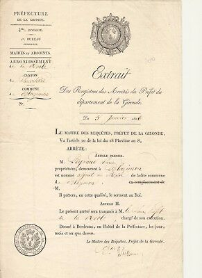 1826 Blazimon Gironde - Nomination adjoint au Maire