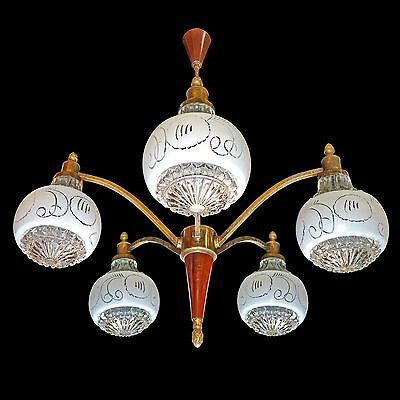 Vintage French Art Deco Mid-Century Modernist Wood & Brass/Art Glass Chandelier