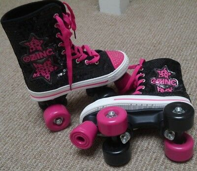 Black & pink sequined roller boots skates ZINC uk size 3 immaculate girls/ladies