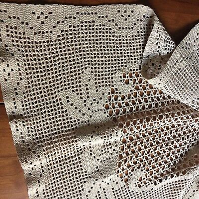 "Vtg table runner crochet lace figural rose taupe 42x17"" FARM COT CHIC"