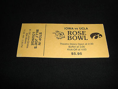Rare 1986 Iowa Hawkeyes Ucla Bruins Rose Bowl Theatre Screne Watching Ticket