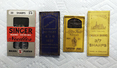 Lot of 4 Vintage Needle Packets - War Pack - Church Brand - Singer - Lady Fair