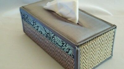 Thai Reed Silver Tissue Box Cover