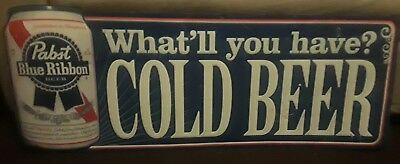 "Vintage Pabst Blue Ribbon ""What'll you have? Cold Beer"" sign 40"" x 15"""