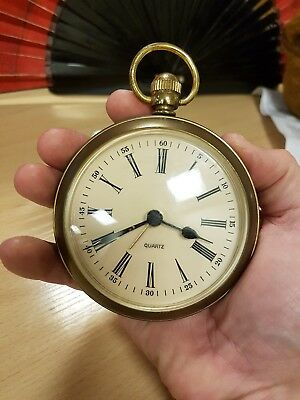 Vintage Retro West German Brass Desk Alarm Clock Large Pocket Watch Style