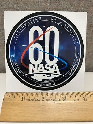 """Official 4"""" NASA """"60th Anniversary"""" Vinyl Decal/Sticker Free Shipping"""