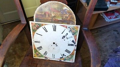 Nice English Antique Arched Grandfather Clock Dial. Hand Painted.For Restoration