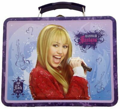 Hannah Montana Square Tin Stationery Small Lunchbox Lunch Box - Purple