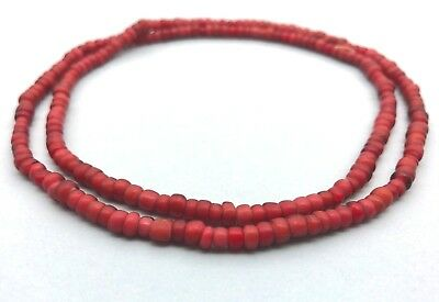Vintage African Red White Hearts Glass Beads