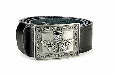 Heraldic Thistle Leather Kilt Belt and Buckle MG5 Antique Gunmetal