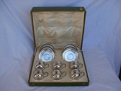 ANTIQUE FRENCH STERLING SILVER COFFEE CUPS & SAUCERS,SET OF 6,LATE 19th CENTURY.
