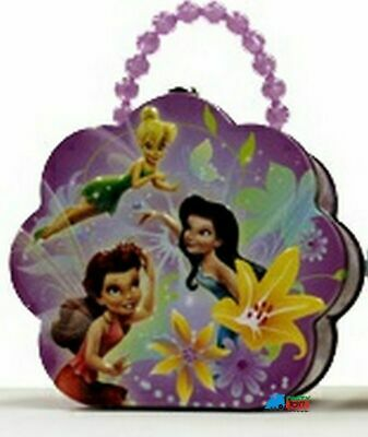 Tinkerbell Tin Box Carry All Flower Shaped Purse with Beaded Handle - Purple