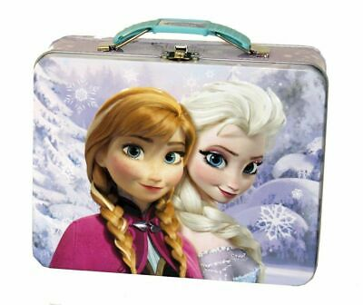 Frozen ice Princess Anna Elsa Small Square Tin Stationery Lunchbox Lunch Box