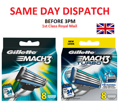 New Gillette Mach3 / Mach3 Turbo 4 / 8 / 16 Razor Blades Same Day Dispatch