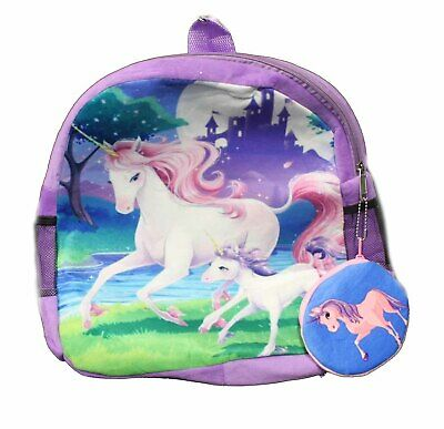 """Girls Unicorn 16/"""" Backpack with Detachable Insulated Lunch Bag Pink Blue"""