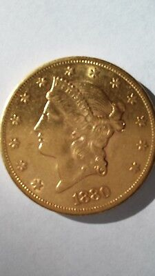 US 1880-S $20 double eagle circulated