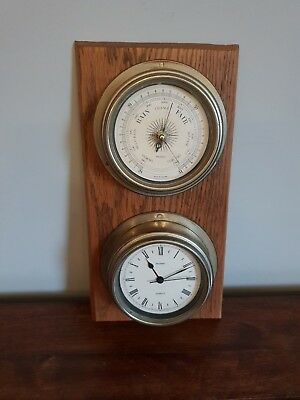 Vintage Metamec Oak Mounted Wall Clock and Barometer (Quartz Roman Numeral Ship)