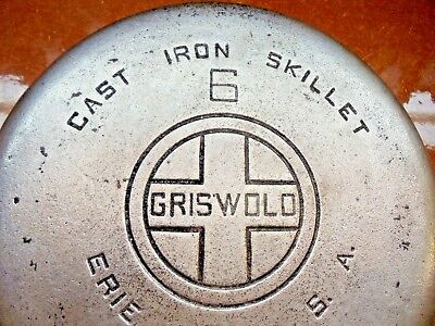 "Antique/vintage Griswold Chrome #699C ""6 Cast Iron Skillet      1003-9"