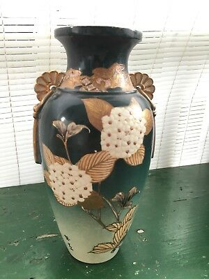 FANTASTIC! Gold HAND PAINTED Meiji Period Japanese Satsuma  Flower SIGNED VASE