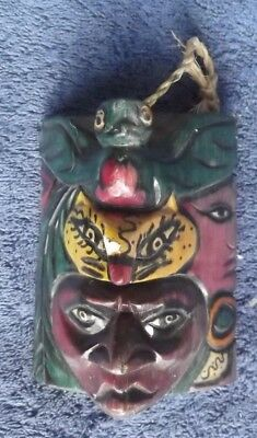 FOLK ART-WOOD Hand Carved*FACE MASK*Triangular shape 4.3/4 ins tall-2x3.5 Sides