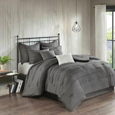 Luxury 8pc Dark Grey Textured Comforter Set AND Decorative Pillows ALL SIZES