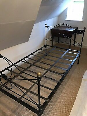 Antique Victorian cast iron single bed with mattess