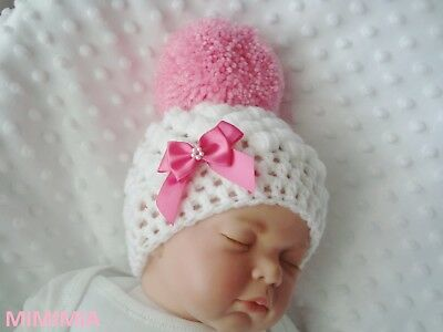 baby crochet white pull on hat girl 2 baby pink bows pink pompom 2-3 lb 3-6 m