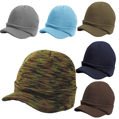 fc8d5fe6e2a UNISEX ESCO PEAKED Army Beanie Hat Warm Wooly Winter Mens Ladies ...