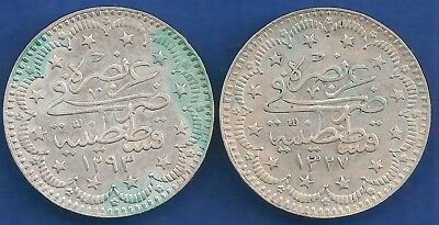 TURKEY OTTOMAN EMPIRE  Turkey 2 x 5 kurus 1907 (1293-33) &1909 (1327-1) SILVER