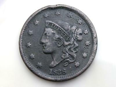 1838 Coronet Head Large Cent - Fine Or Better With Full Liberty & Date